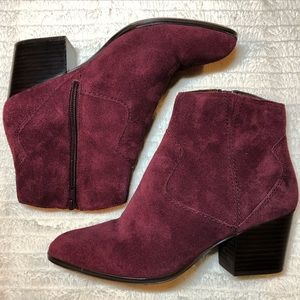 ALDO Maroon/Burgundy Suede Ankle Boots